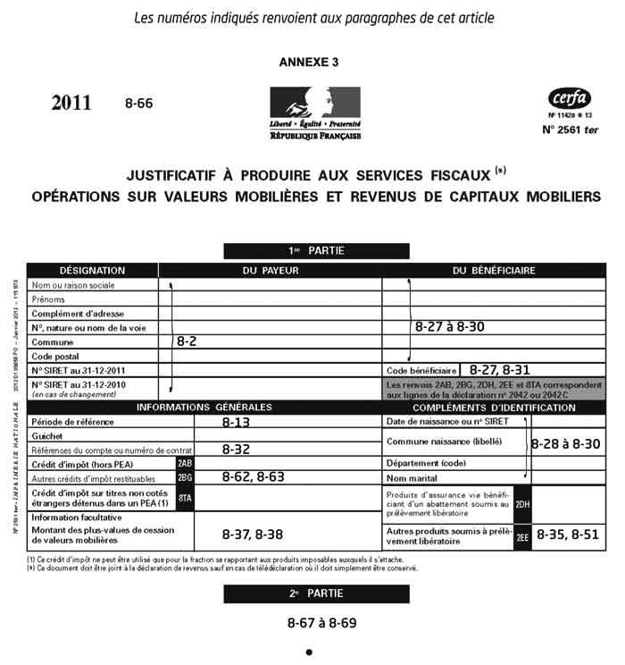 Ifu Declaration 2561 Des Revenus Mobiliers Par Les Tiers Declarants