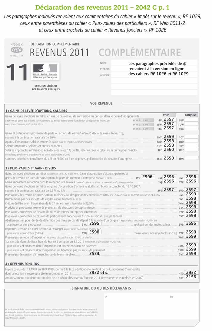 Dclaration des revenus de 2011 - Hebergement a titre gratuit impot sur le revenu ...